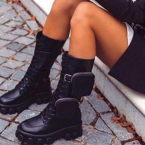 Black combat pouch boot